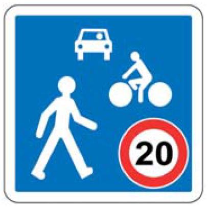 panneau routier zone de rencontre multi véhicules/piétons - Amos-Signalisation
