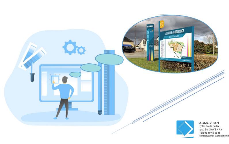 Design de mobilier signalétique par Amos Signalisation